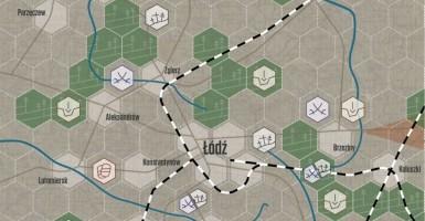 Fragment planszy do naszej gry planszowej 1914. Bitwa Łódzka